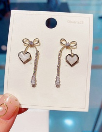 Fashion Real Gold Plated Love Bow Crystal Tassel Earrings
