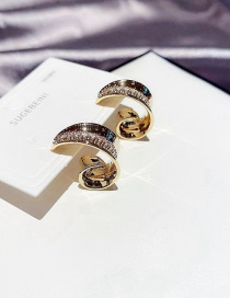Fashion Real Gold Plated Arc Geometric Copper Inlaid Zircon Earrings