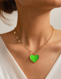 Fashion Green Oil Drop Love Five-pointed Star Snake Bone Chain Necklace