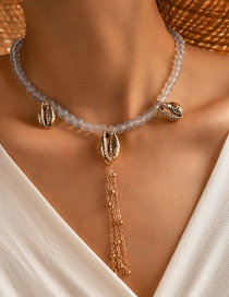 Fashion White Alloy Shell Rice Bead Beaded Necklace
