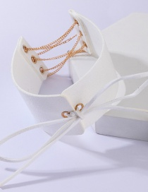 Fashion White Alloy Chain Bow Necklace