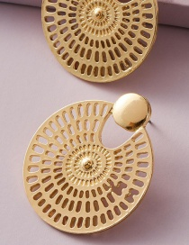 Fashion Golden Hollow Carved Round Geometric Earrings