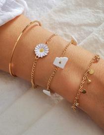 Fashion Golden Multi-layered Bracelet With Round Flowers Broken Shells And Diamonds