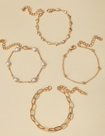 Fashion Golden Thick Chain Pearl Love Round Bead Multilayer Anklet