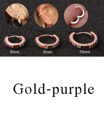 Fashion Gold-purple 6mm Micro-inlaid Zircon Round Copper Gold-plated Cartilage Earrings