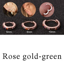 Fashion Rose Gold-green 6mm Micro-inlaid Zircon Round Copper Gold-plated Cartilage Earrings