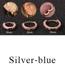 Fashion Silver-blue 8mm Micro-inlaid Zircon Round Copper Gold-plated Cartilage Earrings