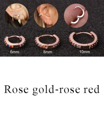 Fashion Rose Gold-rose Red 8mm Micro-inlaid Zircon Round Copper Gold-plated Cartilage Earrings