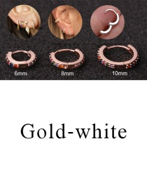Fashion Gold-white 10mm Micro-inlaid Zircon Round Copper Gold-plated Cartilage Earrings