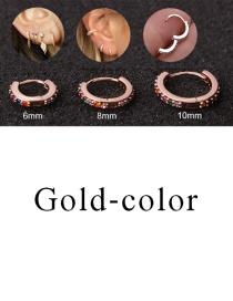 Fashion Gold-color 10mm Micro-inlaid Zircon Round Copper Gold-plated Cartilage Earrings