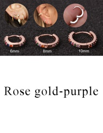 Fashion Rose Gold-purple 10mm Micro-inlaid Zircon Round Copper Gold-plated Cartilage Earrings