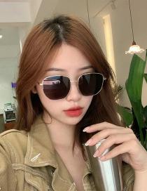 Fashion All Gray Alloy Geometric Sunglasses
