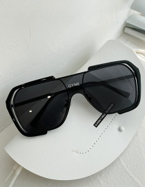 Fashion Bright Black All Gray Letter Large Frame Windproof Sunglasses