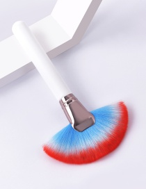 Fashion Single-white Coffee-blue Red-big Fan Color Makeup Brush With Wooden Handle And Aluminum Tube Nylon Hair