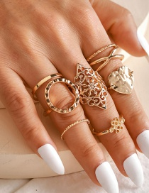 Fashion Gold Color Coloren Cross Hollow Love Round Ring Set