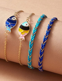 Fashion Royal Blue Dripping Animal Fish Alloy Multilayer Bracelet