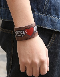 Fashion Antique Light Coffee Real Cowhide Love Heart Wing Bracelet