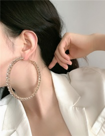 Fashion 8 Cm Gold Color Color Geometric Round Alloy Earrings With Diamonds