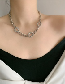 Fashion Silver Color Diamond Thick Chain Geometric Hollow Necklace