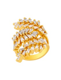 Fashion Gold Color Leaf Olive Branch Diamond Open Ring