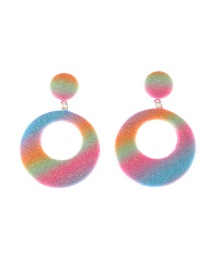 Fashion Color Circle Geometric Glitter Gradient Alloy Earrings