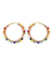 Fashion Color Mixing Rice Beads Beaded Round Alloy Earrings