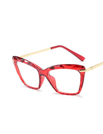 Fashion Transparent Red Frame Cat Eye Crystal Trimming Alloy Resin Flat Mirror