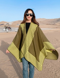 Fashion Army Green Thick Knitted Cashmere Stripe Slit Long Shawl