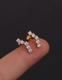 Fashion 12#silver Color Zircon Inlaid Stainless Steel Threaded Key Geometric Earrings
