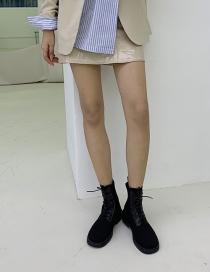 Fashion Black Breathable Platform Tether Solid Color Martin Boots
