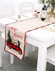 Fashion Color Mixing Letter Embroidery Truck Christmas Placemat