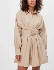 Fashion Apricot Tie-up Strap Solid Color Shirt Dress
