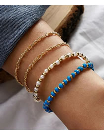 Fashion Color Mixing Rice Bead Bead Alloy Round Bead Pearl Bracelet Set