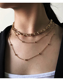 Fashion Gold Color Alloy U-shaped Chain Multi-layer Necklace