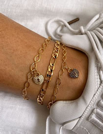 Fashion Gold Coloren Love Heart Diamond Thick Chain Alloy Multilayer Anklet