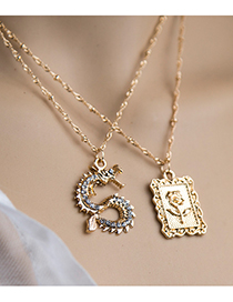 Fashion Golden Alloy Chain Square Brand Flower Double Necklace