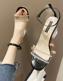 Fashion Black Transparent Crystal Word With Thick High Heel Sandals