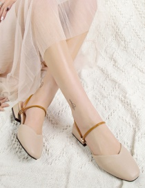 Fashion Creamy-white Crystal Square Toe Baotou Two Wear High Heels