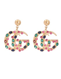 Fashion Powder Alloy Cutout Earrings With Diamond Letters