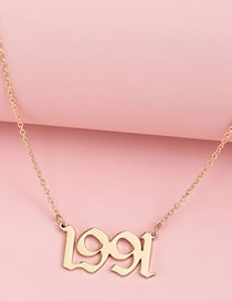 Fashion Gold Coloren 2 Digital Alloy Hollow Necklace