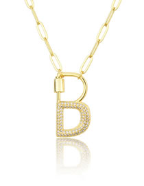 Fashion B Gold Color Screw Buckle Letter Diamond Hollow Necklace