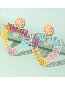 Fashion Color Mixing Gradient Raffia Heart Hollow Earrings