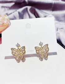 Fashion Real Gold Plated Butterfly Hollow Inlaid Zircon Earrings In Real Gold