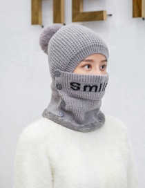 Fashion Gray Two-piece Bib Color Matching Striped Thick Knitted Hat Ear Protection