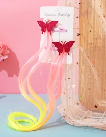 Fashion Butterfly Red Butterfly Animal Contrast Color Childrens Wig Braids
