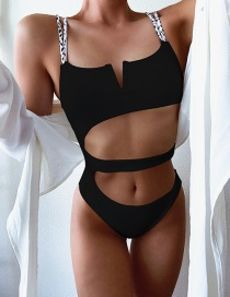 Fashion Black V Support Hollow Irregular One-piece Swimsuit