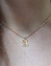 Fashion Golden Color A Stainless Steel Ancient English Letter Hollow Necklace
