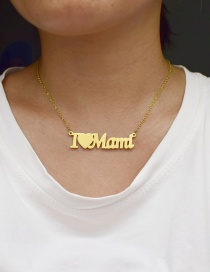 Fashion Golden Color Letter Love Stainless Steel Hollow Necklace
