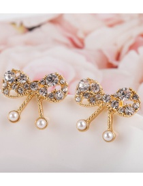 Fashion Gold Color Diamond-studded Pearl Butterfly Combined With Gold Hollow Earrings