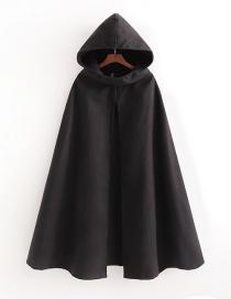 Fashion Black Pure Color Hooded Woolen Cloak Coat